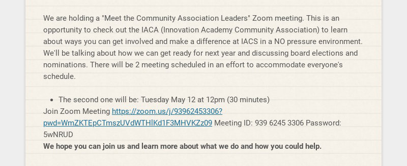 """We are holding a """"Meet the Community Association Leaders"""" Zoom meeting. This is an opportunity to..."""