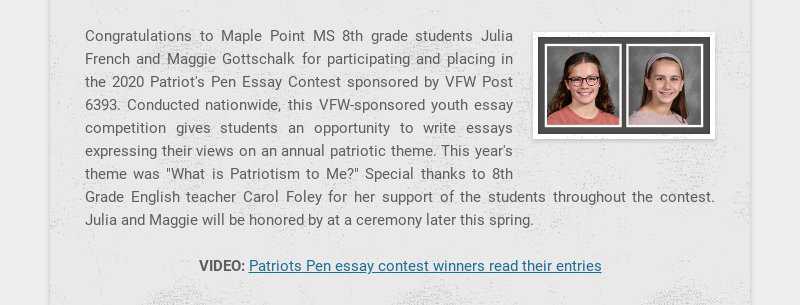 Congratulations to Maple Point MS 8th grade students Julia French and Maggie Gottschalk for...