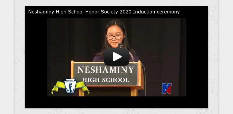 Neshaminy High School Honor Society 2020 Induction ceremony